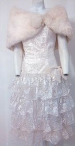 Vintage 80s does 1950 lace party ruffle dress